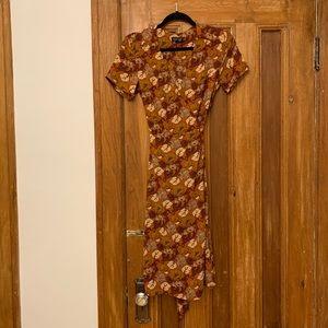 TOPSHOP Floral Leaf Wrap Dress